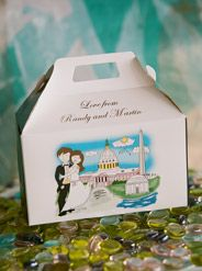 This #weddingfavorbox is designed with the Caitlin Color Cartoon...#WashingtonDCwedding couple. Customize with your hair & skin color, gown & accessory color. Goody boxes are printed on both sides with your choice of font, ink color & side panel colors. Scores of designs & concepts to choose from. Only available at www.FavorsYouKeep.com. Our design team will gladly assist you over the phone at 512.323.0600 -Austin,TX #washingtondcweddingfavorideas