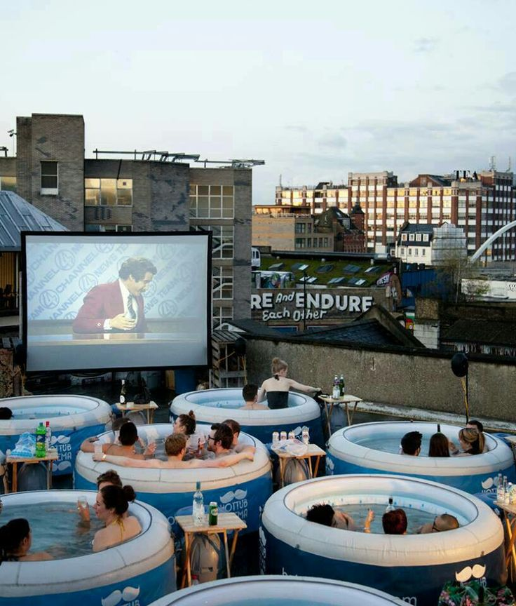 FUNNY! Hot tub cinema! What a cute idea! & while watching Anchorman.. cant go wrong here!