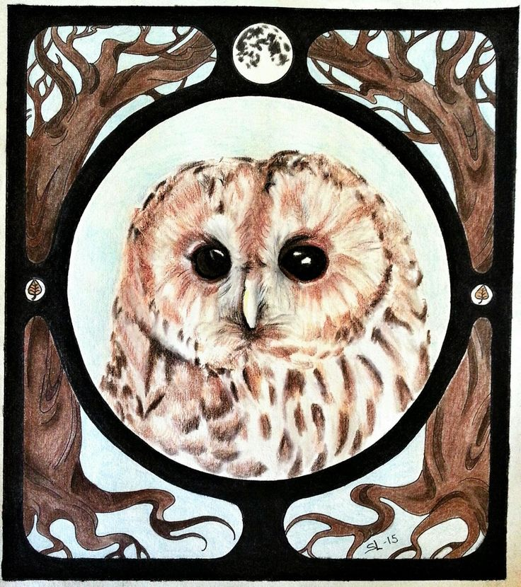 Art nouveau owl portrait. Spiritus Familiare Precious Things blog