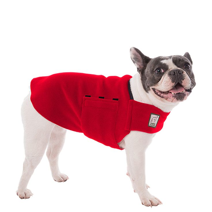 Red French Bulldog Dog Tummy Warmer, great for warmth, anxiety and laying with our dog rain coat. High performance material. Made in the USA.