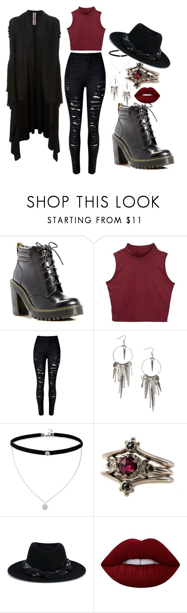 """Nudge - Maximum Ride"" by jaimee69 on Polyvore featuring Dr. Martens, BillyTheTree, Maison Michel, Lime Crime and Rick Owens"