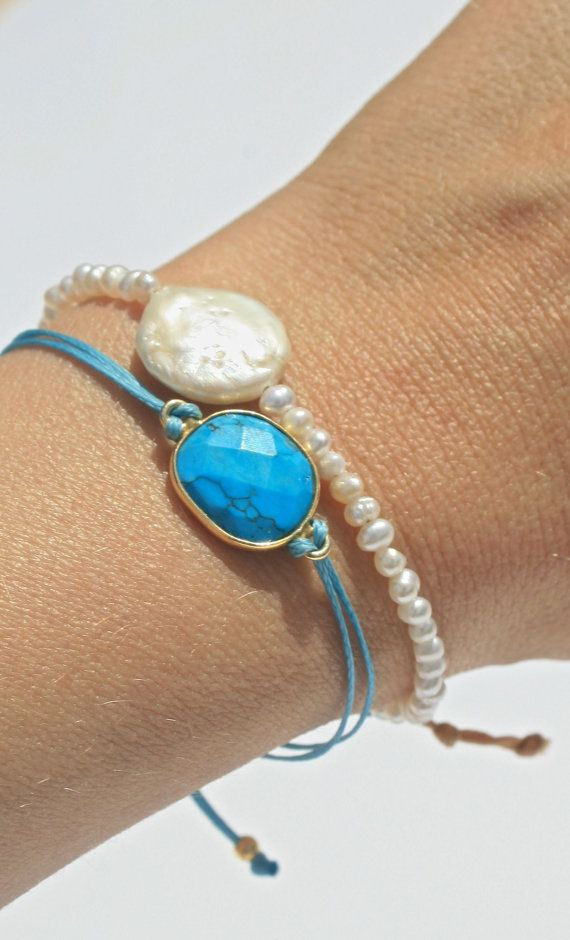 Friendship bracelet turquoise stone gold plated by marysartjewelry, $20.00