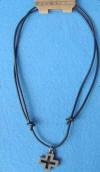 Metal Cross Pendant  Leather corded contemporary favorite! (Item #28872)