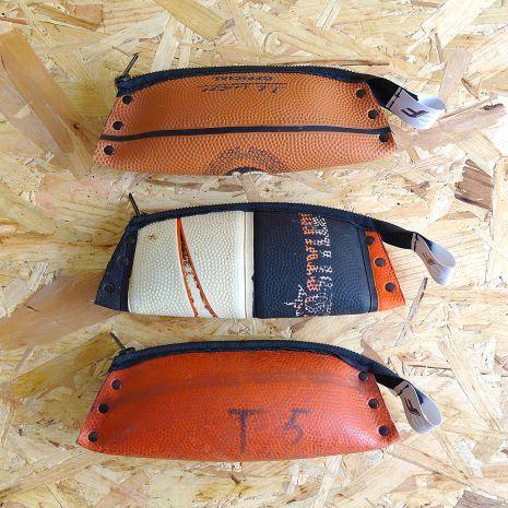 Trousses en ballon de basket recyclé- Reversible éco design - Upcycling…