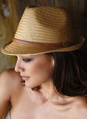 Classic summer fashion straw fedora hat for women