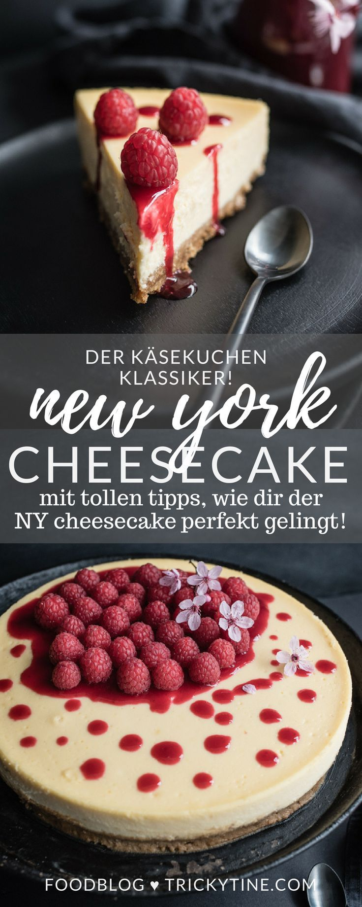 Super cremiger NY Cheesecake mit Himbeersauce