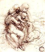 "Leonardo da Vinci ""Mary and the Child with Saint Anne and Saint John (study)"" (1501-1506) Gallerie dell'Accademia, Venice"