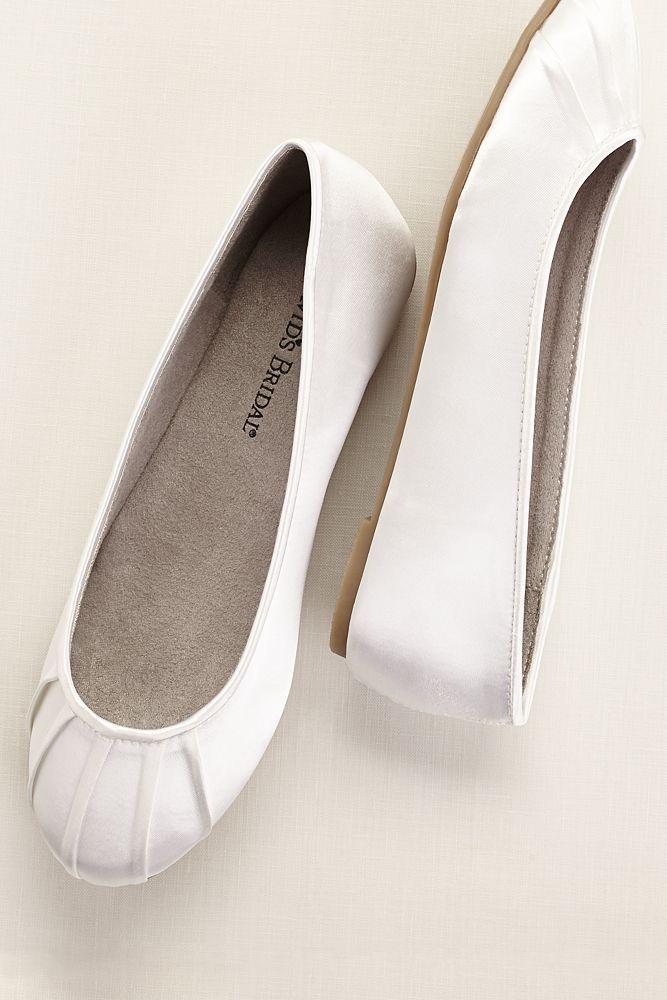 Dyeable Satin Pleated Toe Ballet Flat