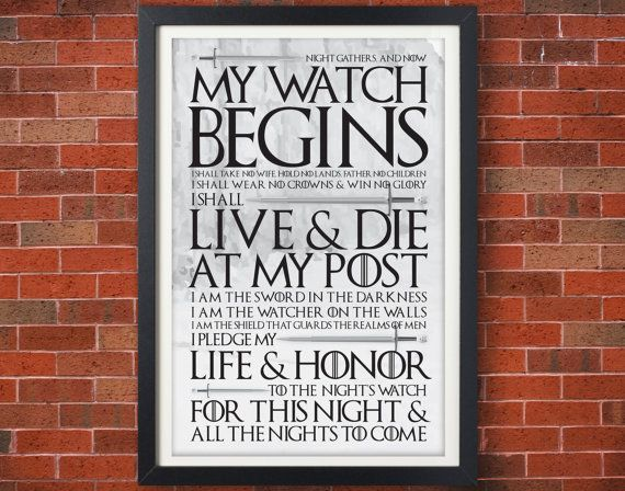 SEASON FINALE SALE! 25% off! Game of Thrones Night's Watch Oath Poster - Jon Snow - Typographic Poster