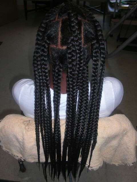 Big box braids | I would like it better if each braid was cut into four...