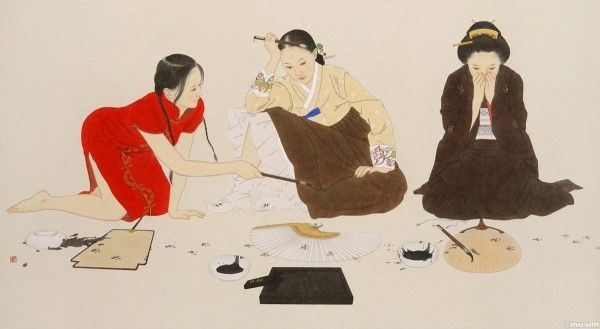 welcome2 painting on Korean paper by Shin sunmi