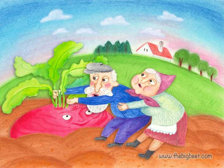 (5/14) She grabbed grandpa and he grabbed the beet and together they pulled with all their might, but they couldn't pull the beet out of the ground.