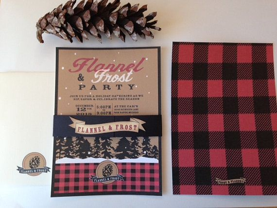 plaid or flannel invitation      flannel and frost