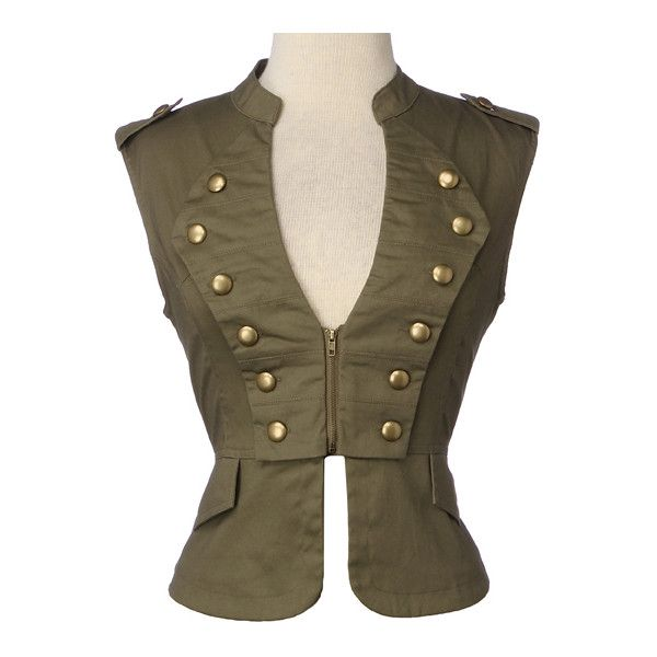 Military Twill Vest ❤ liked on Polyvore featuring outerwear, vests, jackets, tops, steampunk, women, brown waistcoat, military fashion, military vest and military inspired vest