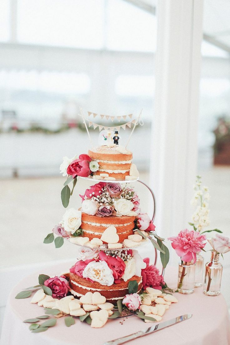 Naked Cake Sponge Layer Flowers Lego Bunting Topper Beautiful Pink Gold Gin Wedding http://jesspetrie.com/