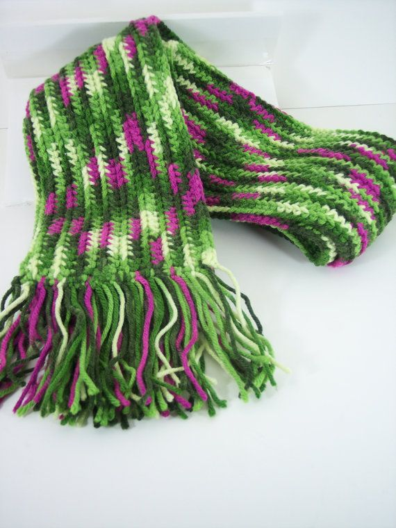 Hand Crocheted Purple, shades of Green and Yellow  Soft and Warm, Multicolored Handmade Scarf with hand tied fringe, Winter Accessories
