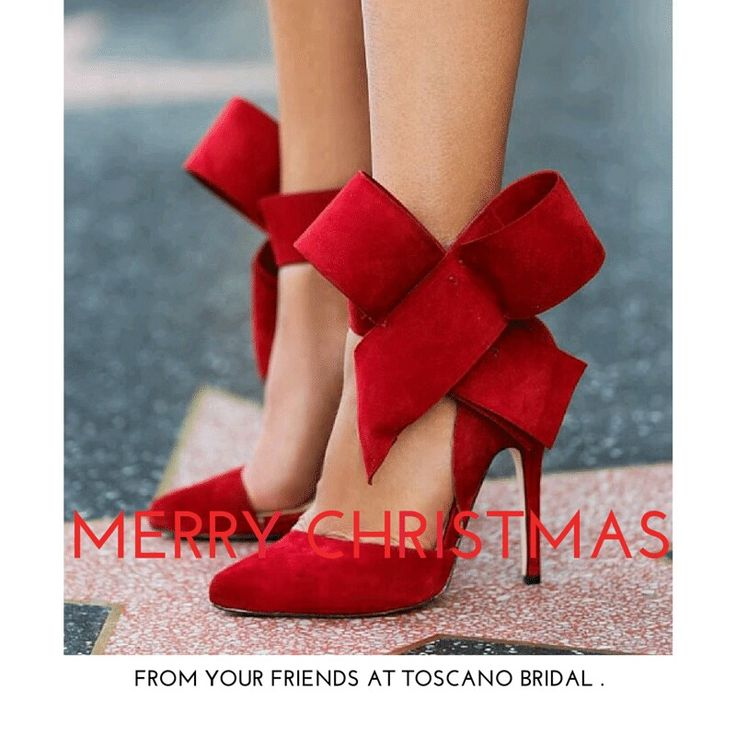 Merry Christmas from Toscano Bridal. #Christmas #redbow #love #redheels