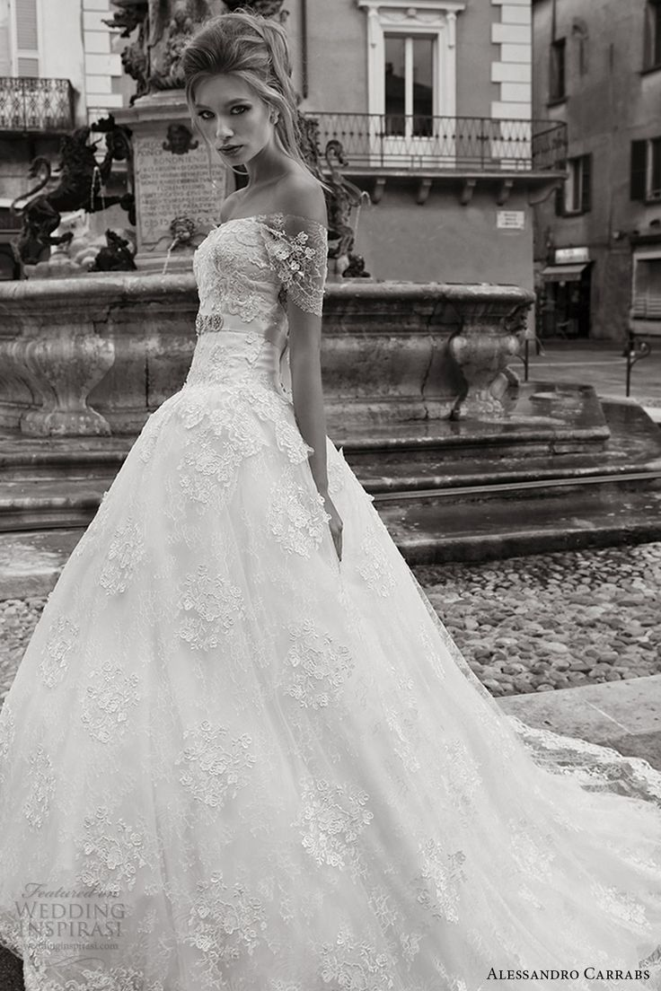 alessandro carrabs couture bridal 2016 off shoulder straight across lace drop waist ball gown wedding dress (004) mv