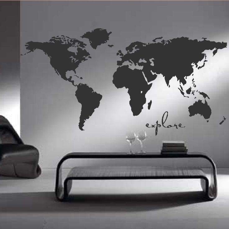 World Map International Countries Modern Home Bedroom Wall Sticker Art Mural M10   [Large Charcoal]