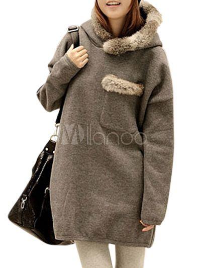 Felpa casual in cotone monocolore con maniche lunghe - Milanoo.com