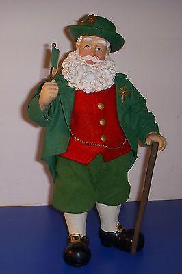 Irish Santa Irish Flag Cane Clothtique Possible Dreams 1997 Christmas 10 in Tall