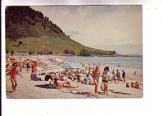 1960s or 70s - Many People on Beach, Mt Maunganui, New Zealand, Logancard