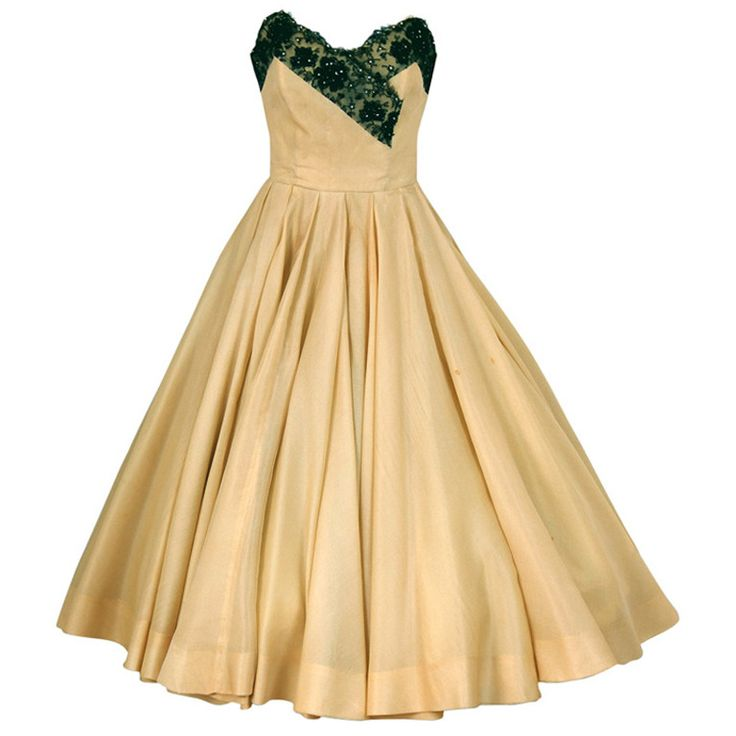 1950's Jacques Fath Pale-Yellow Silk & Black Beaded Lace Strapless Party Dress | From a collection of rare vintage evening dresses at https://www.1stdibs.com/fashion/clothing/evening-dresses/