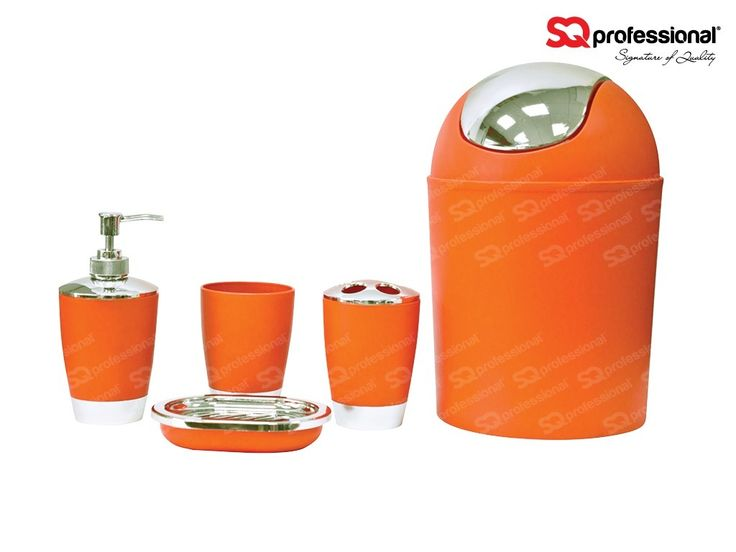Bathroom accessory set 5pc - ORANGE - You asked for more bathroom accessory sets and we listened - they're back! Now with new bold and exciting colours! This is a modern and contemporary bathroom set. These eye catching colours will bring character and life to any bathroom. The set comprises of: 3 L waste bin | Soap dish | Soap dispenser | Toothbrush holder | A rinse cup. These are going fast so catch them while you can! #bathroom #accessory #orange #special #deal #sqprofessional