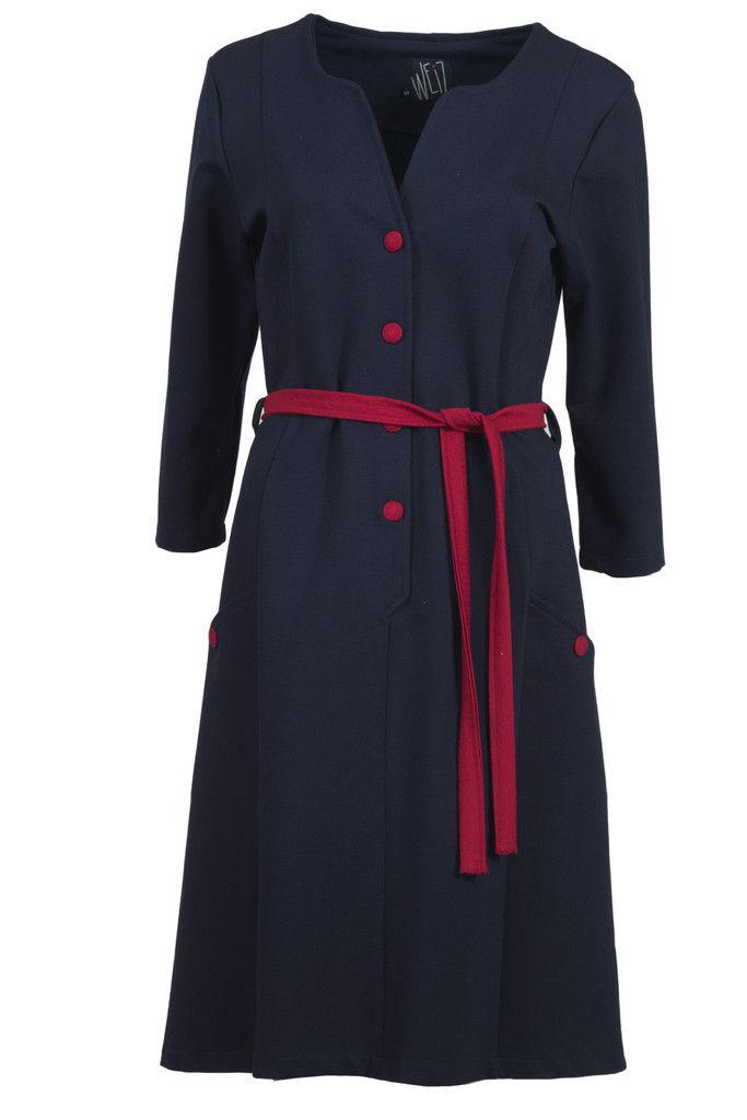 Weiz Copenhagen Gyda dress in classic marine with red details.