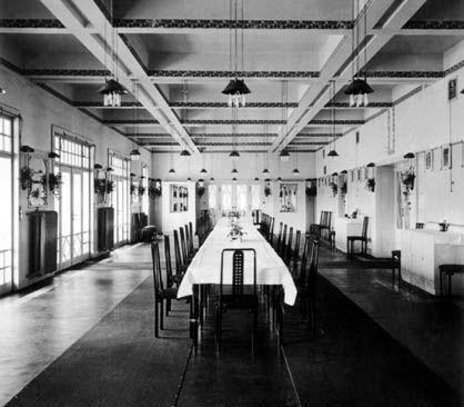 Sanatorio di Purkersdorf_ Josef Hoffmann. La sala da pranzo, foto d'epoca. Tratta dal catalogo BUWOG.