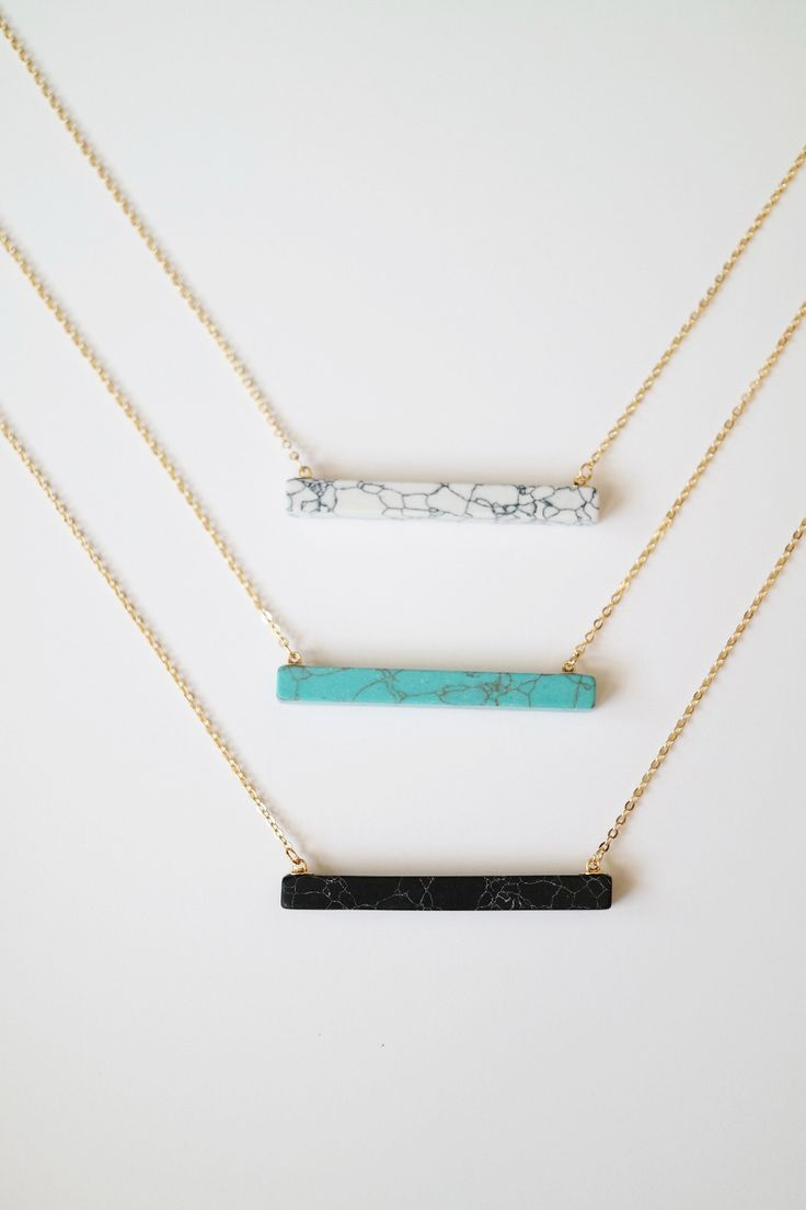 """Add a pop of color to your look with this stylish stone bar necklace, or shop the Vertical Stone Bar Necklace. Details: - 27"""" + 3"""" extender - Gold plated - Lobster closure clasp"""
