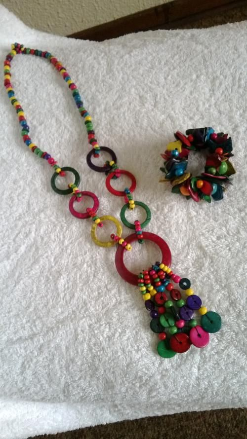 Buy RAINBOW COLLECTION HANDMADE JEWELLERY COMBO, NECKLACE & STRETCHY STACK BRACELET for R1.00
