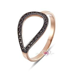 Stylish ring 14ct gold and black zircon