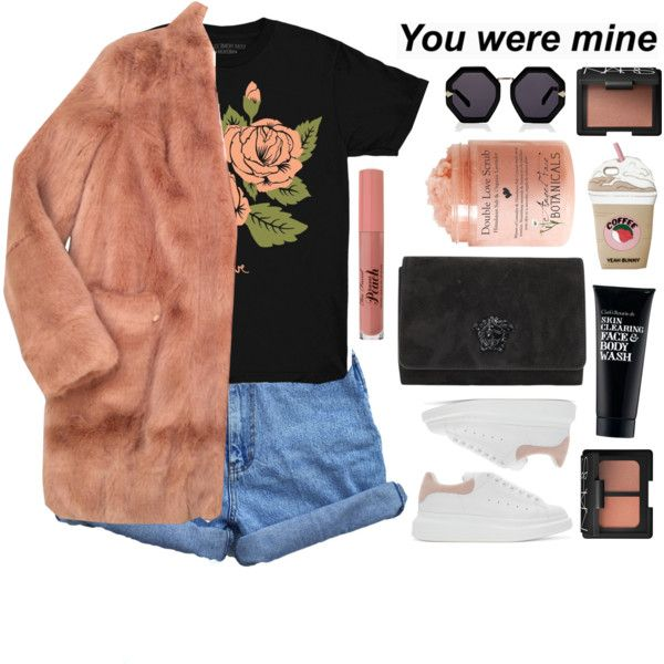 Untitled #2833 by tacoxcat on Polyvore featuring Stay Home Club, Urbancode, Bill Blass, Alexander McQueen, Versace, Karen Walker, NARS Cosmetics and Clark's Botanicals