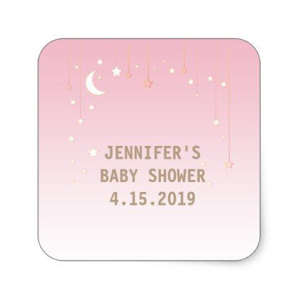 Pink Moon Stars Baby Girl Baby Shower Stickers - baby gifts child new born gift idea diy cyo special unique design