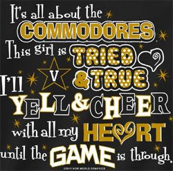 new cheerleading t shirts | Vanderbilt Commodores Football T-Shirts - Yell & Cheer For Vandy