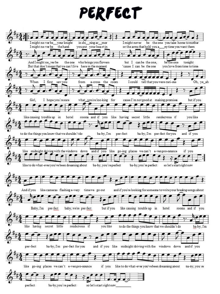One Direction Perfect violin sheet music   Violin sheet music, Sheet music, Flute sheet music