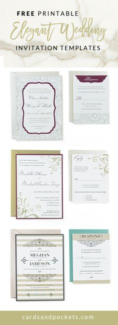 Download and print these Free Wedding Invitation Templates, perfect for brides on a budget planning an elegant wedding | http://www.cardsandpockets.com/freeweddinginvitationtemplates.aspx