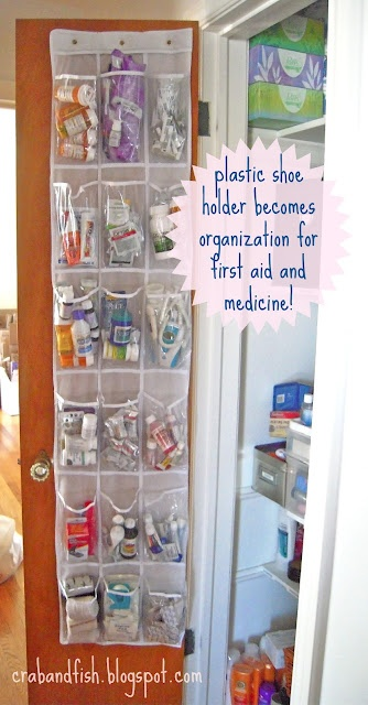 plastic shoe holder becomes organization for first aid, medicine, crafts, office supplies, etc.
