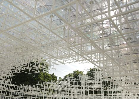 here are the first images of this years Serpentine Gallery Pavilion by Japanese architect Sou Fujimoto, which was unveiled in London this morning