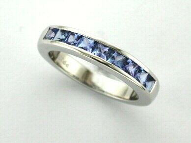 'JOYCE' --  Elegant Tanzanite Channel set Ring Custom made in 14ct White Gold for a Special December Birthday