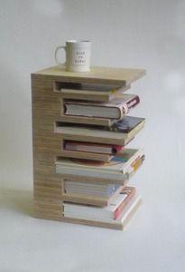 Modern and super cool little bookshelf/end table design idea #booklover #bookshelfdiyidea