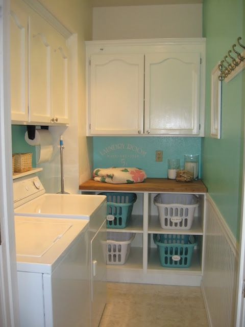 My laundry room. Little cubbies are made from Ikea base cabinets whtout doors. #SamsungSpinCycle