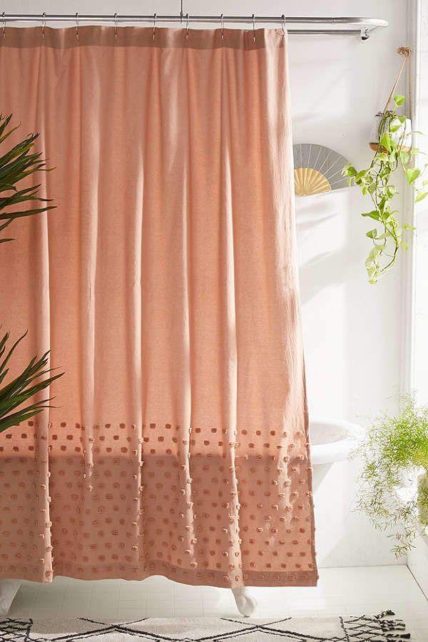 Tufted Dot Shower Curtain Boho Bathroom Boho Curtains Bathroom