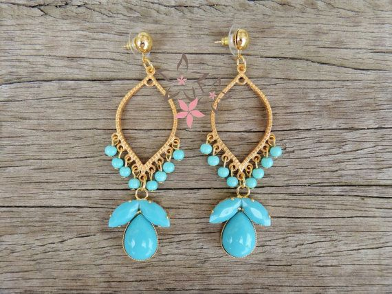 Thetis Earrings / Boho Gold Plated Brass Earrings / by Twininas