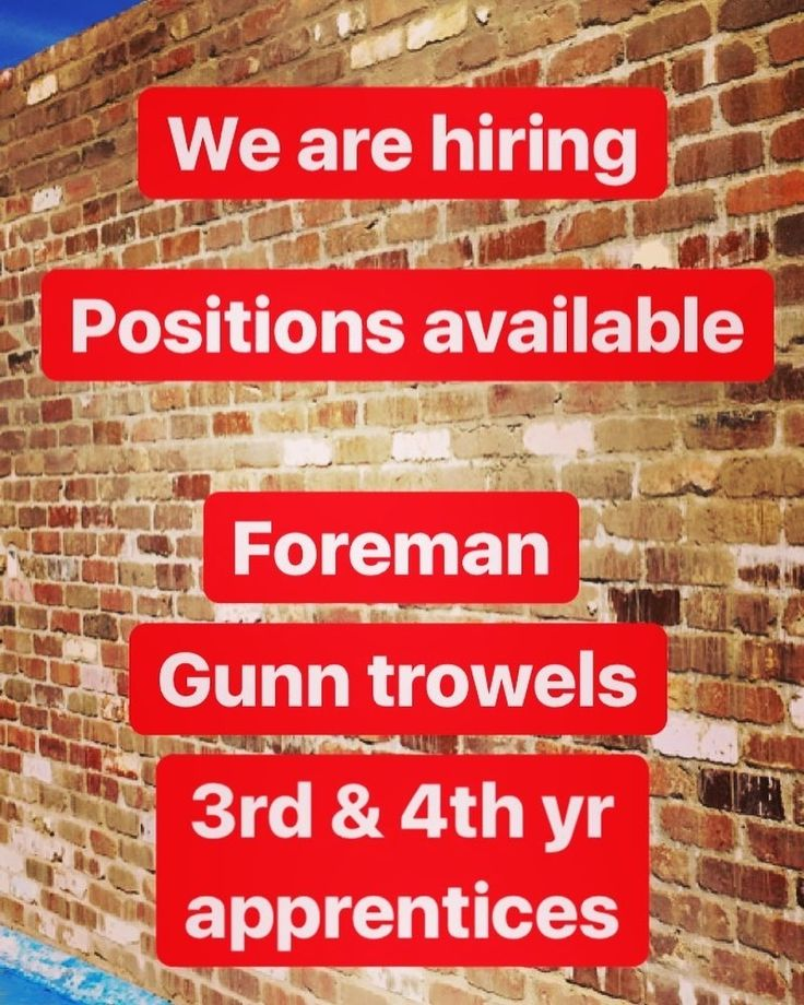 Coast to Coast Bricklaying is expanding and looking for good professional reliable hard working men to fill the following positions: Foreman Gunn trowels 3rd & 4th yr apprentices. All work is in the Sutherland shire & eastern suburbs. We are a Professional Bricklaying team who specialise in High end residential construction. You MUST be hard working reliable professional & a top quality tradesman. Call Ryan: 0423669289 Visit my page to view more @bricklayer229 Via : @coast2coast_bricklaying