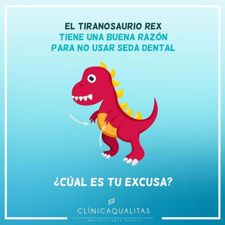 El tiranosaurio rex tiene una buena razón para no usar seda dental... ¿Cuál es tu excusa? #humordental #saluddental #clinicadental #oralhealth #trex #higiendental #