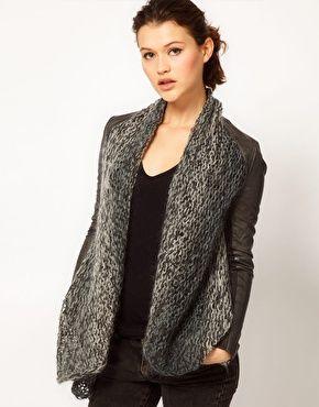 Image 1 ofMuubaa Leather Galatti Knitted Waterfall Jacket