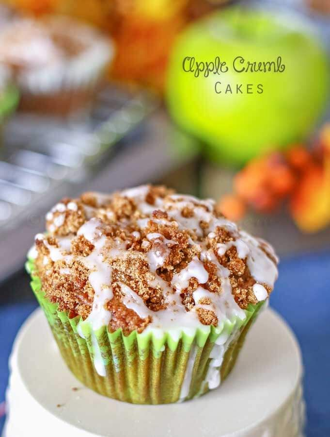 Apple Crumb Cakes ~ Soft & fluffy cake, packed with apples, cinnamon & molasses, add to that a crumb topping & frosting drizzle – they are positively scrumptious. on MyRecipeMagic.com