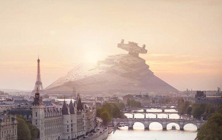 Les vaisseaux de Star Wars échoués dans Paris, New York ou San Francisco